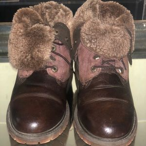 """Timberland Shearling 6"""" Boots Leather Brown WMS 8M"""